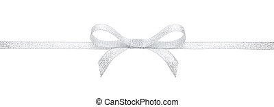 Silver ribbon and bow against white background