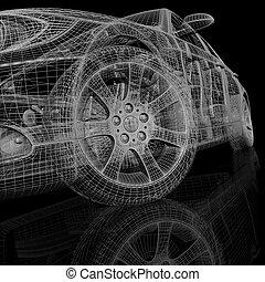 Car model on black background - Car model on black...