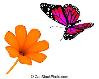 Flower and the butterfly - Flower and the butterfly on white...
