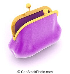 The color purse on a white background