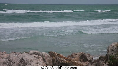Waves on the beach with rocks - Florida beach, Sarasota