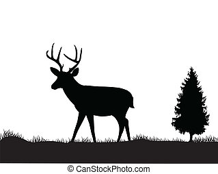 Deer silhouette  - Vector Illustration Of Deer silhouette
