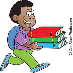 Boy carrying books - Cartoon illustration of a boy carrying...