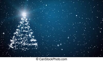 New Year tree, snowflakes and stars - Christmas fur-tree and...