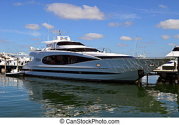 Motor Yacht - Luxury yacht moored at a marina in miami...