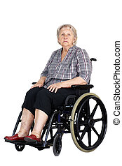 Unhappy senior woman in wheelchair