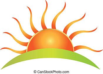 sol, logotipo, vector