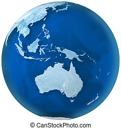 Blue Earth Australia - 3D rendering of blue earth with...