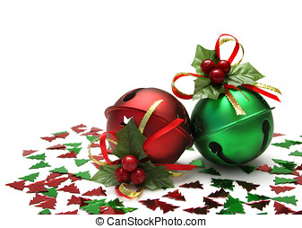 Jingle Bells - Metal Jingles Bells with holly bows and...