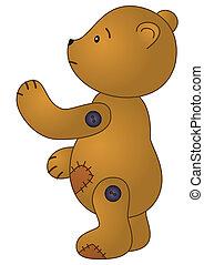 Sad teddy bear - Toy, sad brown patched teddy bear