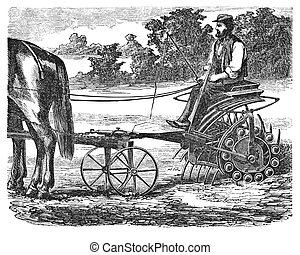 Farmer at work - RUSSIA - CIRCA 1870: engraving taken from a...