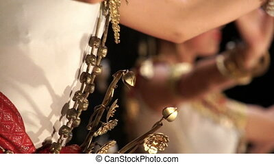 Apsara dance - Close up of accessories of a traditional...