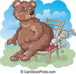 The Fierce Competition - The bear and the rabbit is trying...