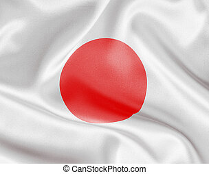 Japan flag on white satin or silk