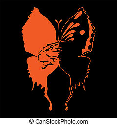 Big black and red butterfly with fiery lion