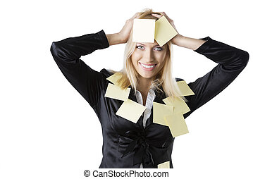 business blonde woman with both hands on the head