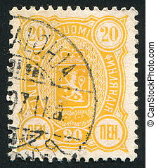 Coat of arms of Finland - FINLAND - CIRCA 1892: stamp...