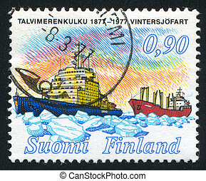 icebreaker - FINLAND - CIRCA 1977: stamp printed by Finland,...