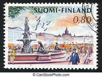 Helsinki Market Place - FINLAND - CIRCA 1976: stamp printed...