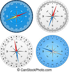 Compasses - Set of different compasses, vector eps10...