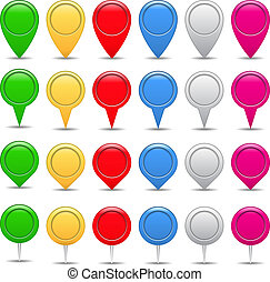 Map markers - Set of map markers, vector eps10 illustration