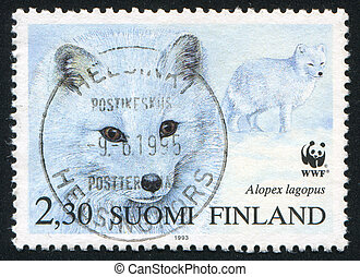 Arctic Fox - FINLAND - CIRCA 1993: stamp printed by Finland,...