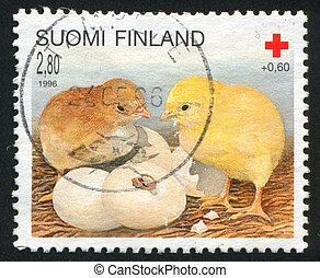 Chicks - FINLAND - CIRCA 1996: stamp printed by Finland,...