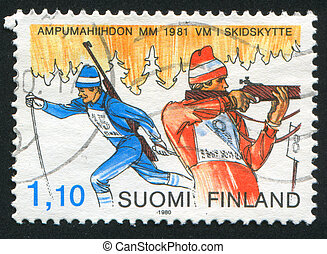 Two Biathlonists - FINLAND - CIRCA 1980: stamp printed by...