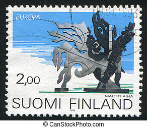 Sculptures - FINLAND - CIRCA 1993: stamp printed by Finland,...