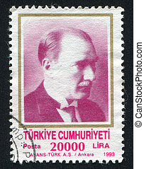 Kemal Ataturk - TURKEY - CIRCA 1993: stamp printed by...