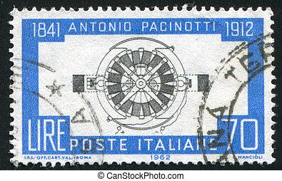Pacinottis Dynamo - ITALY - CIRCA 1962: stamp printed by...