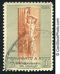Statue of Ariel - URUGUAY - CIRCA 1948: stamp printed by...