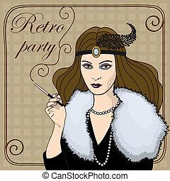 Fumar, mujer, Retro, estilo
