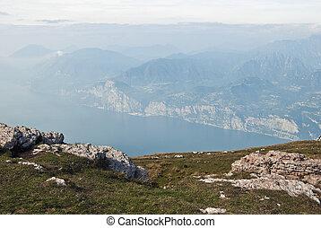 Lake Garda seen from Mt Baldo - view of Italys Lake Garda as...