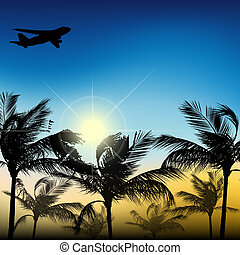 Palm trees against the sky and the sun of an airplane
