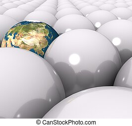 3d Earth within white balls