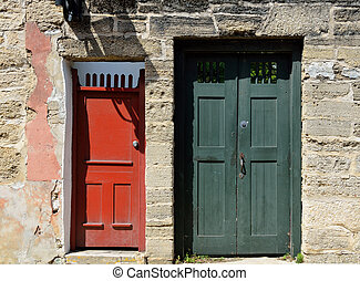 Vintage Doors of St. Augustine - Old front doors at historic...