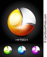 Hi-tech vector 3d sphere icon - Vector illustration. Color...