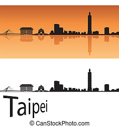 Taipei skyline in orange background in editable vector file