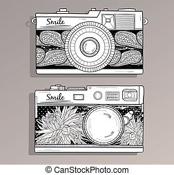 Retro photo cameras set.