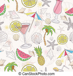 Cute summer abstract pattern Seamless pattern with coctails,...