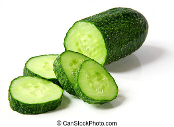 Fresh cucumber and slices on white background