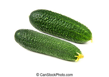 Two cucumbers on white background