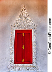 Red window of the Church in Thai Temple.