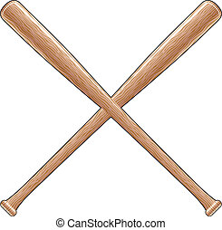 Baseball Bats - Illustration of two crossed wooden baseball...