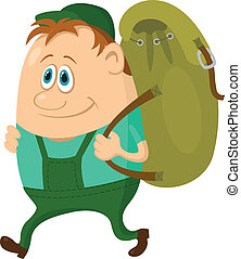 Tourist with backpack - Tourist, cartoon character, hiker...