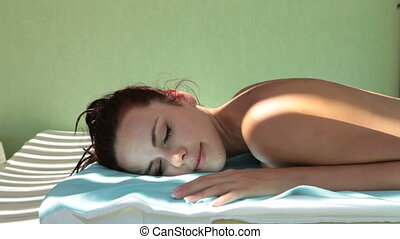 Back Massage at Spa Resort - Beautiful woman with closed...