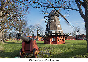 Kastellet fortress in Copenhagen - Windmill and old gun in...