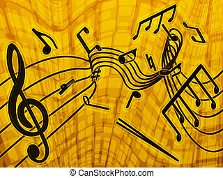 Music - on a yellow background shows the musical notes...