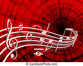 musical notes - On a red background shows musical notes of...